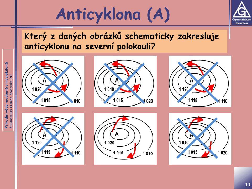 Přírodní vědy moderně a interaktivně ©Gymnázium Hranice, Zborovská 293 Anticyklona (A) Který z daných obrázků schematicky zakresluje anticyklonu na severní polokouli.