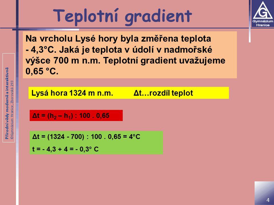 Přírodní vědy moderně a interaktivně ©Gymnázium Hranice, Zborovská 293 Teplotní gradient Na vrcholu Lysé hory byla změřena teplota - 4,3°C.