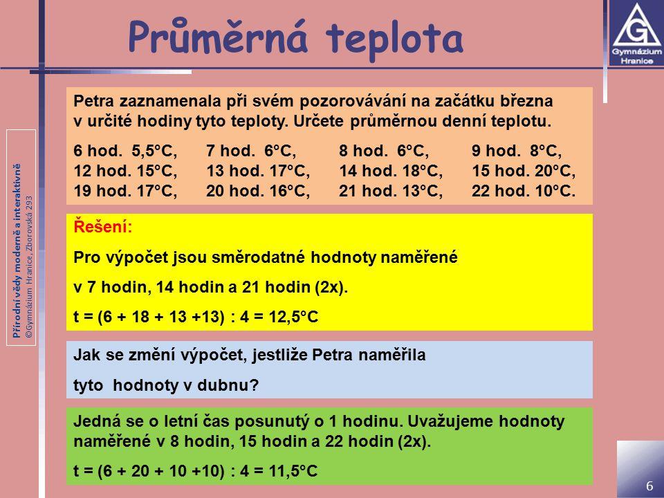 Přírodní vědy moderně a interaktivně ©Gymnázium Hranice, Zborovská 293 Průměrná teplota Petra zaznamenala při svém pozorovávání na začátku března v určité hodiny tyto teploty.