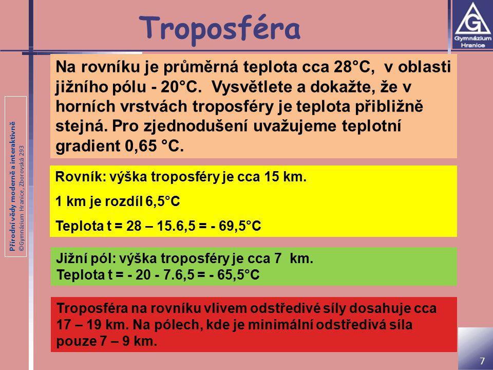Přírodní vědy moderně a interaktivně ©Gymnázium Hranice, Zborovská 293 Troposféra Na rovníku je průměrná teplota cca 28°C, v oblasti jižního pólu - 20°C.
