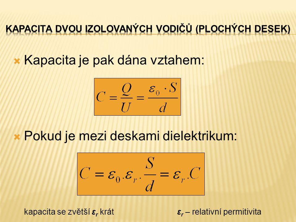  Kapacita je pak dána vztahem:  Pokud je mezi deskami dielektrikum: kapacita se zvětší ε r krát ε r – relativní permitivita