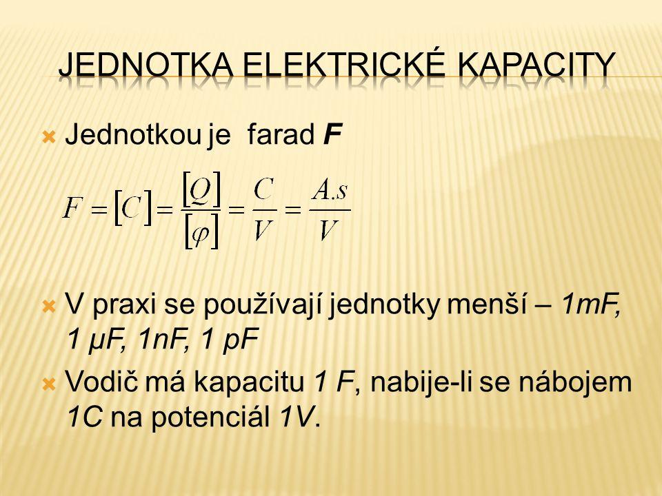  Jednotkou je farad F  V praxi se používají jednotky menší – 1mF, 1 μF, 1nF, 1 pF  Vodič má kapacitu 1 F, nabije-li se nábojem 1C na potenciál 1V.