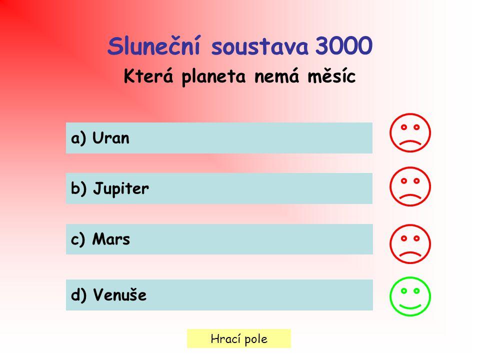 Hrací pole Sluneční soustava 3000 Která planeta nemá měsíc a) Uran b) Jupiter c) Mars d) Venuše