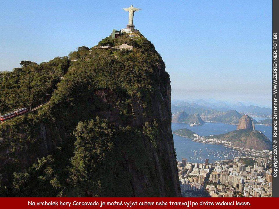 Na vrcholek hory Corcovado je možné vyjet autem nebo tramvají po dráze vedoucí lesem.