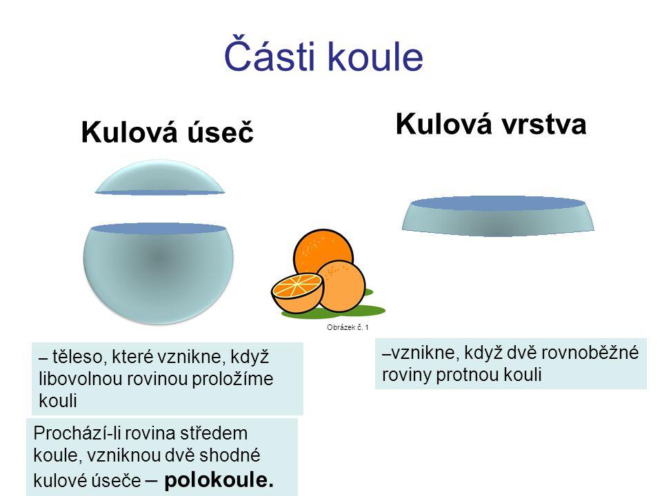 Části koule Kulová úseč – těleso, které vznikne, když libovolnou rovinou proložíme kouli Prochází-li rovina středem koule, vzniknou dvě shodné kulové