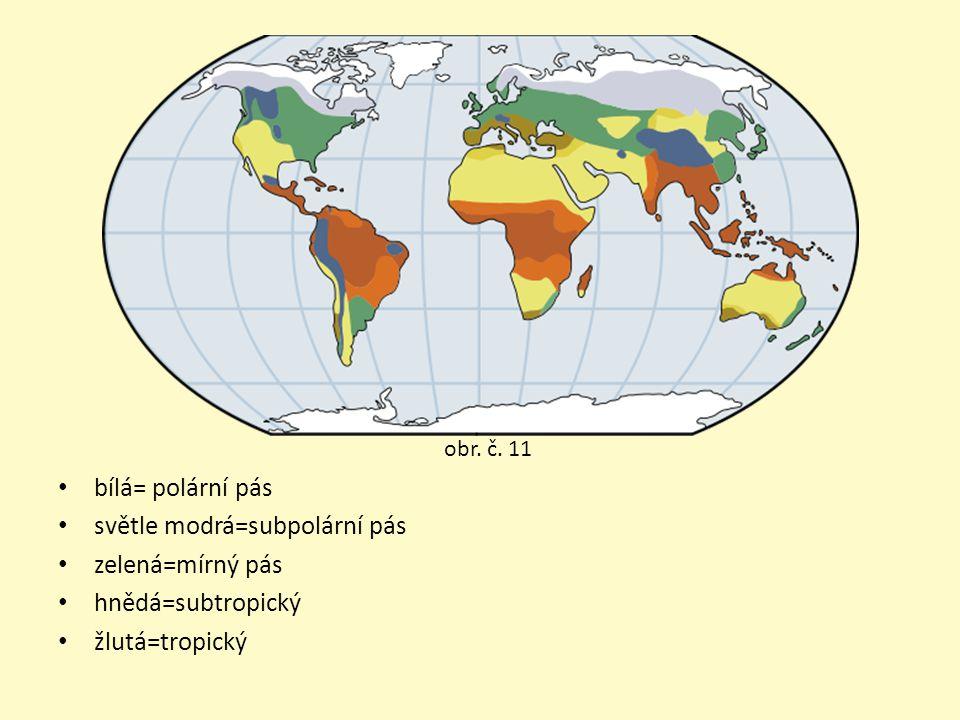 bílá= polární pás světle modrá=subpolární pás zelená=mírný pás hnědá=subtropický žlutá=tropický obr.
