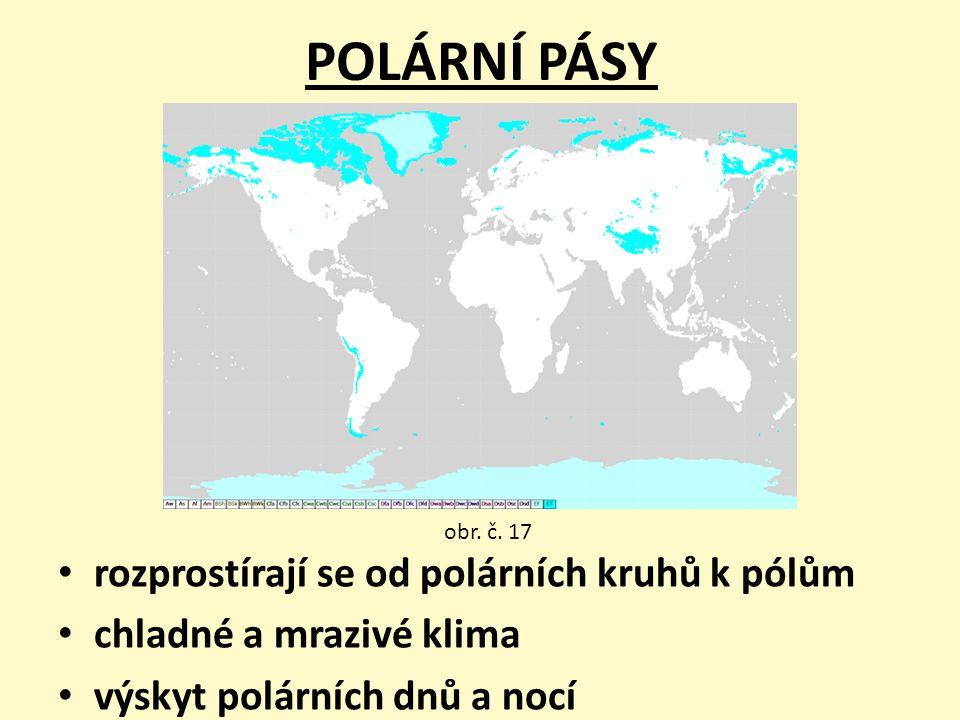 POLÁRNÍ PÁSY rozprostírají se od polárních kruhů k pólům chladné a mrazivé klima výskyt polárních dnů a nocí obr. č. 17