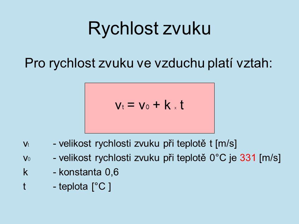 Pro rychlost zvuku ve vzduchu platí vztah: v t = v 0 + k x t v t - velikost rychlosti zvuku při teplotě t [m/s] v 0 - velikost rychlosti zvuku při teplotě 0°C je 331 [m/s] k- konstanta 0,6 t- teplota [°C ] Rychlost zvuku