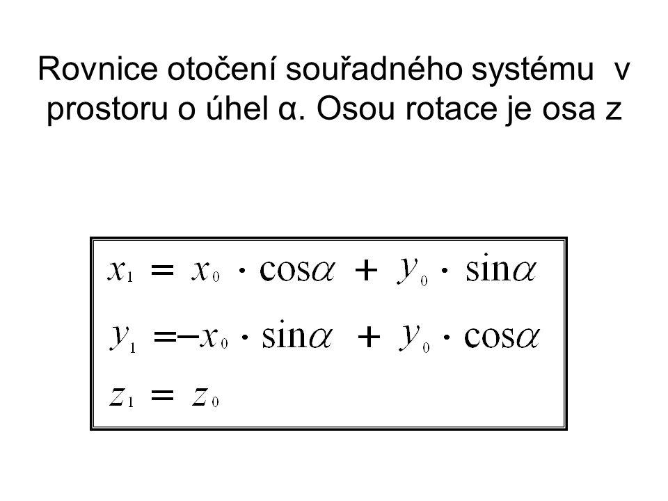 Rovnice otočení souřadného systému v prostoru o úhel α. Osou rotace je osa z