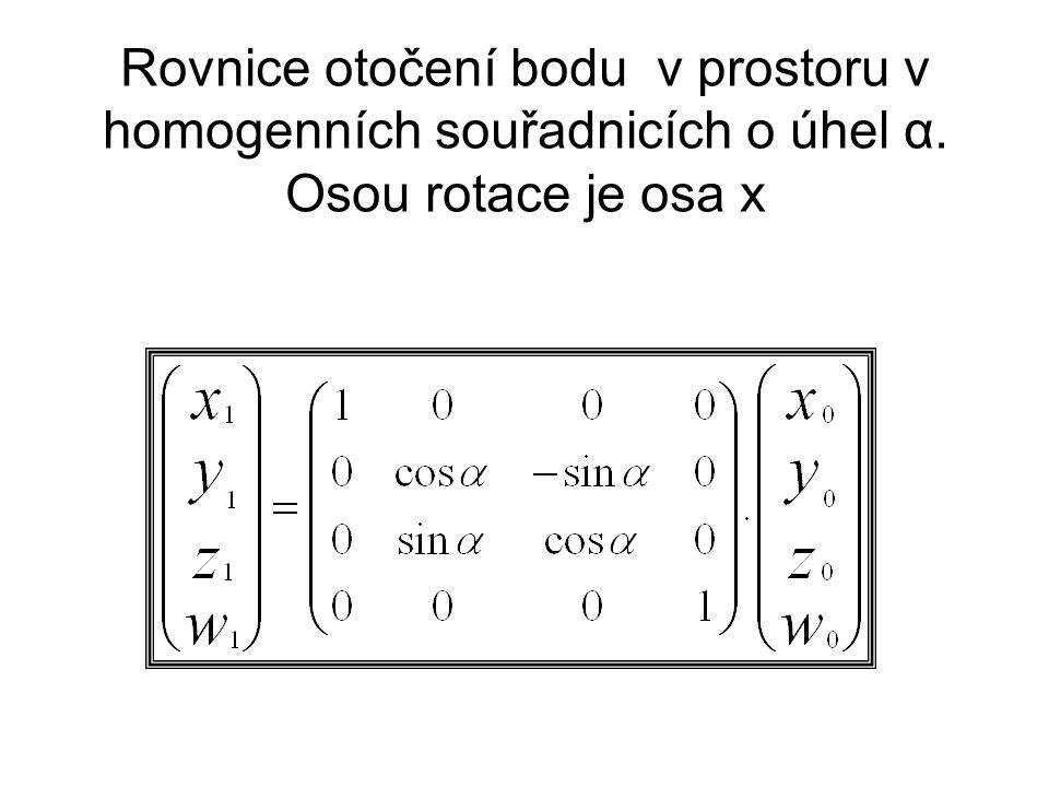 Rovnice otočení bodu v prostoru v homogenních souřadnicích o úhel α. Osou rotace je osa x