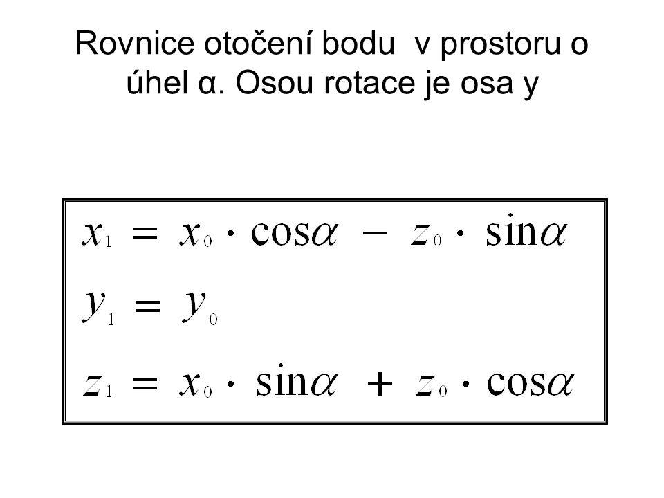 Rovnice otočení bodu v prostoru o úhel α. Osou rotace je osa y