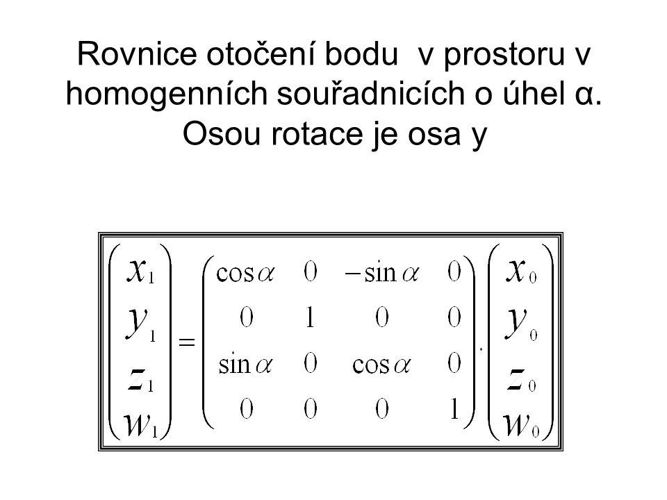 Rovnice otočení bodu v prostoru v homogenních souřadnicích o úhel α. Osou rotace je osa y