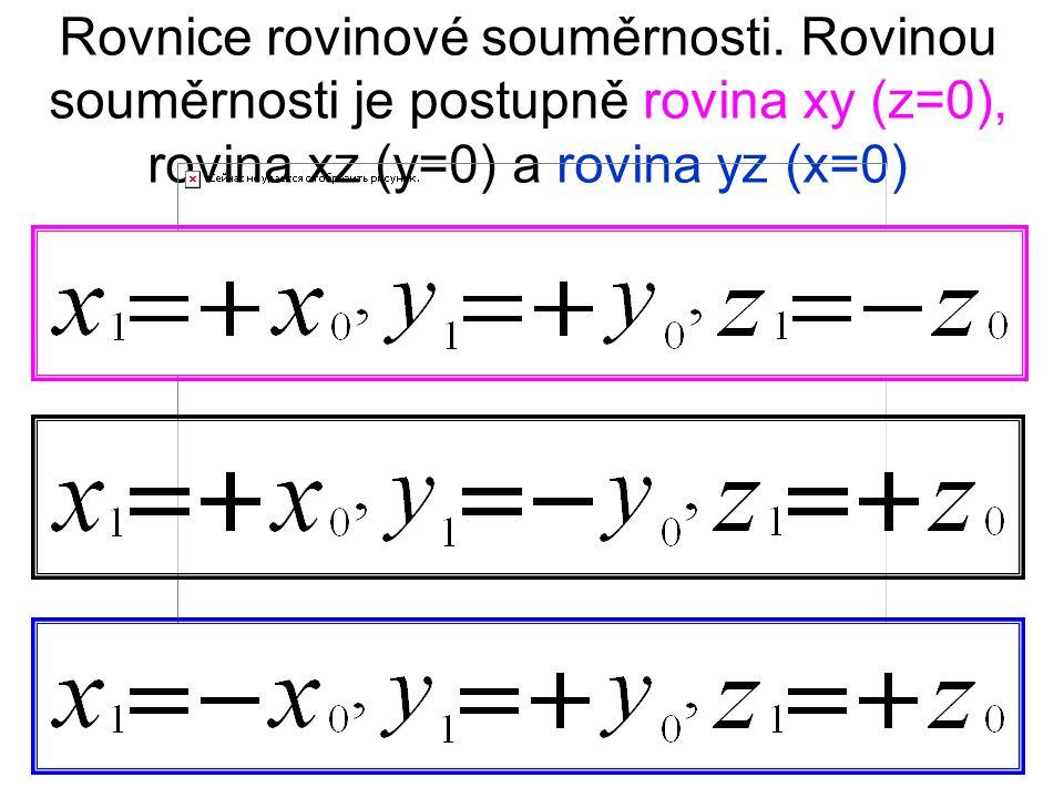 Rovnice rovinové souměrnosti.