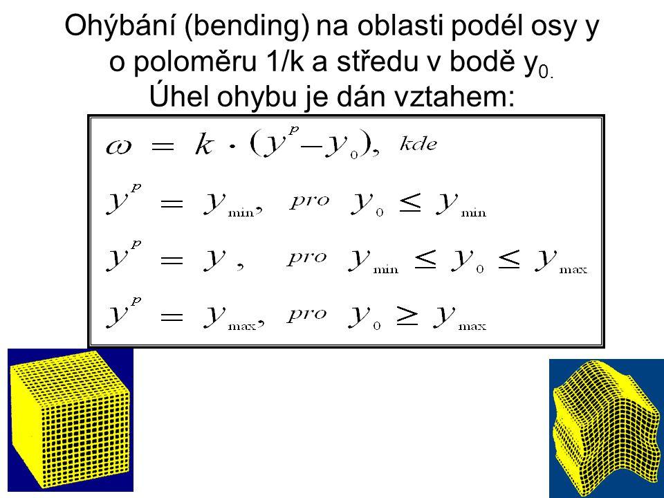 Ohýbání (bending) na oblasti podél osy y o poloměru 1/k a středu v bodě y 0.