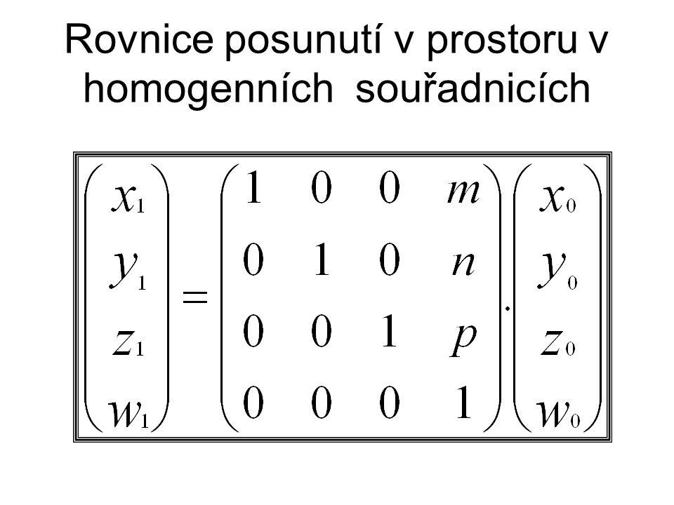 Rovnice šroubování bodu v prostoru v homogenních souřadnicích. Osou rotace je osa z