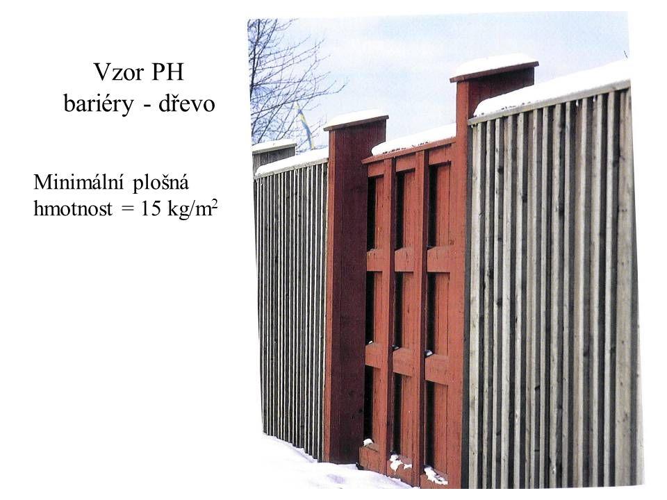 Vzor PH bariéry - dřevo Minimální plošná hmotnost = 15 kg/m 2