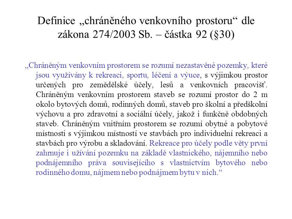 """Definice """"chráněného venkovního prostoru dle zákona 274/2003 Sb."""
