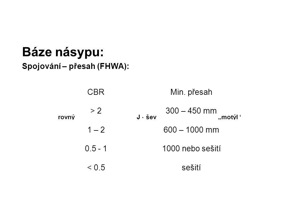 """Báze násypu: Spojování – přesah (FHWA): J - ševrovný""""motýl"""" CBRMin. přesah > 2300 – 450 mm 1 – 2600 – 1000 mm 0.5 - 11000 nebo sešití < 0.5sešití"""