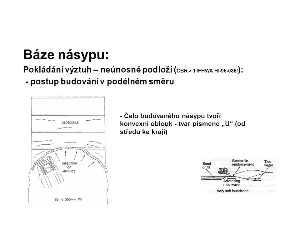 Báze násypu: Pokládání výztuh – neúnosné podloží ( CBR > 1 /FHWA HI-95-038/ ): - postup budování v podélném směru - Čelo budovaného násypu tvoří konve