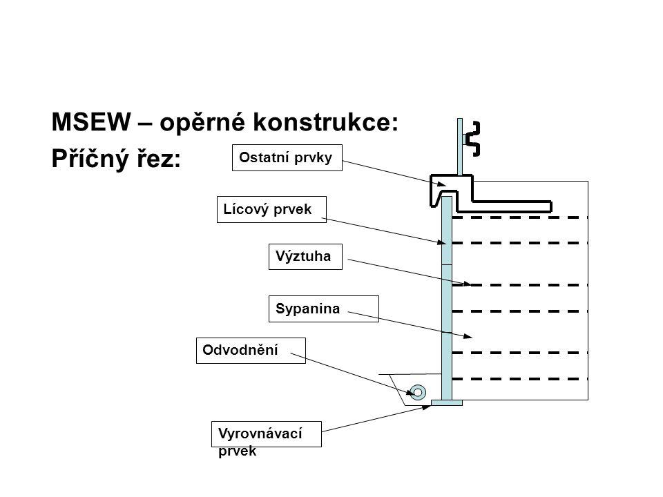MSEW – opěrné konstrukce: Úprava základové spáry: je-li pod MSEW nevhodný materiál či předměty, které by mohly poškodit výztuhy, tak je nutné je odstranit základová spára se upraví na úroveň a sklon dle projektu úprava podloží pod lícovými prvky se odvíjí od typu (ilustrační příklady) : – panel na plnou výšku, dílčí panely, prefa bloky = podkladní vrstva z prostého betonu tl.
