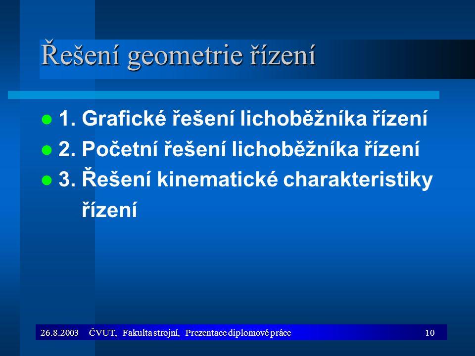 26.8.2003 ČVUT, Fakulta strojní, Prezentace diplomové práce10 Řešení geometrie řízení 1. Grafické řešení lichoběžníka řízení 2. Početní řešení lichobě