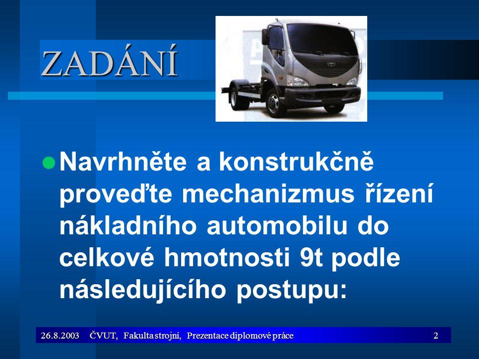 26.8.2003 ČVUT, Fakulta strojní, Prezentace diplomové práce2 ZADÁNÍ Navrhněte a konstrukčně proveďte mechanizmus řízení nákladního automobilu do celko