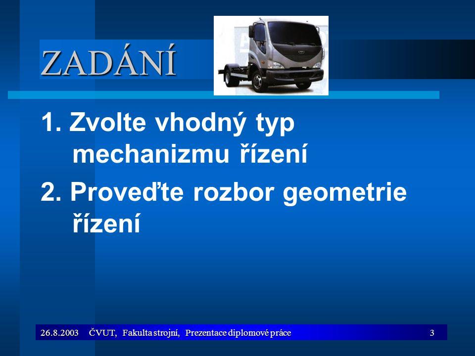 26.8.2003 ČVUT, Fakulta strojní, Prezentace diplomové práce4 ZADÁNÍ 3.