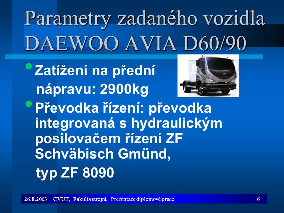 26.8.2003 ČVUT, Fakulta strojní, Prezentace diplomové práce6 Parametry zadaného vozidla DAEWOO AVIA D60/90 Zatížení na přední nápravu: 2900kg Převodka