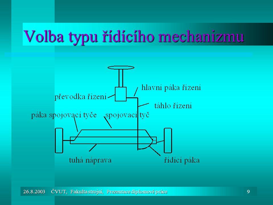 26.8.2003 ČVUT, Fakulta strojní, Prezentace diplomové práce9 Volba typu řídícího mechanizmu