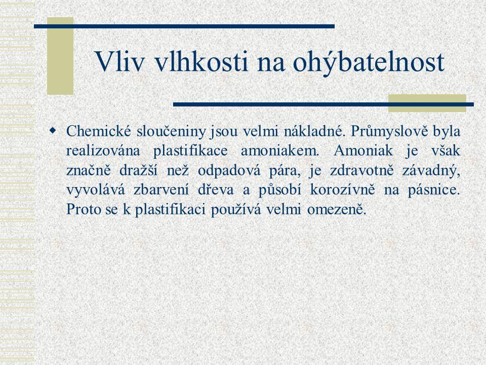 Vliv vlhkosti na ohýbatelnost  Plastifikace se provádí: pařením, vařením, dielektricky ( tepelné zpracování dřeva ), chemickými látkami.  Největší v