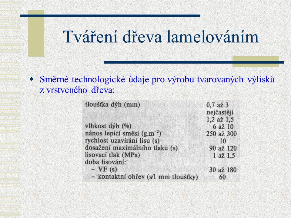 Tváření dřeva lamelováním  Tloušťky dýh se pohybují v rozmezí 0,7 až 3 mm, nejčastěji. 1,2 až 1,5 mm.  Pro lepení se používají močovinoformaldehydov