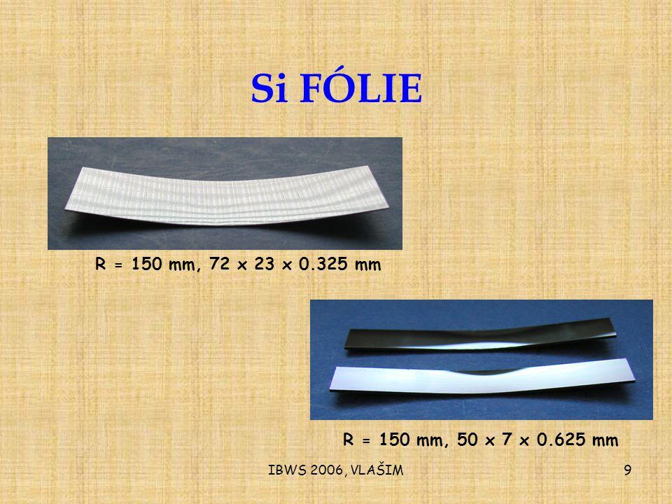 IBWS 2006, VLAŠIM9 Si FÓLIE R = 150 mm, 72 x 23 x 0.325 mm R = 150 mm, 50 x 7 x 0.625 mm
