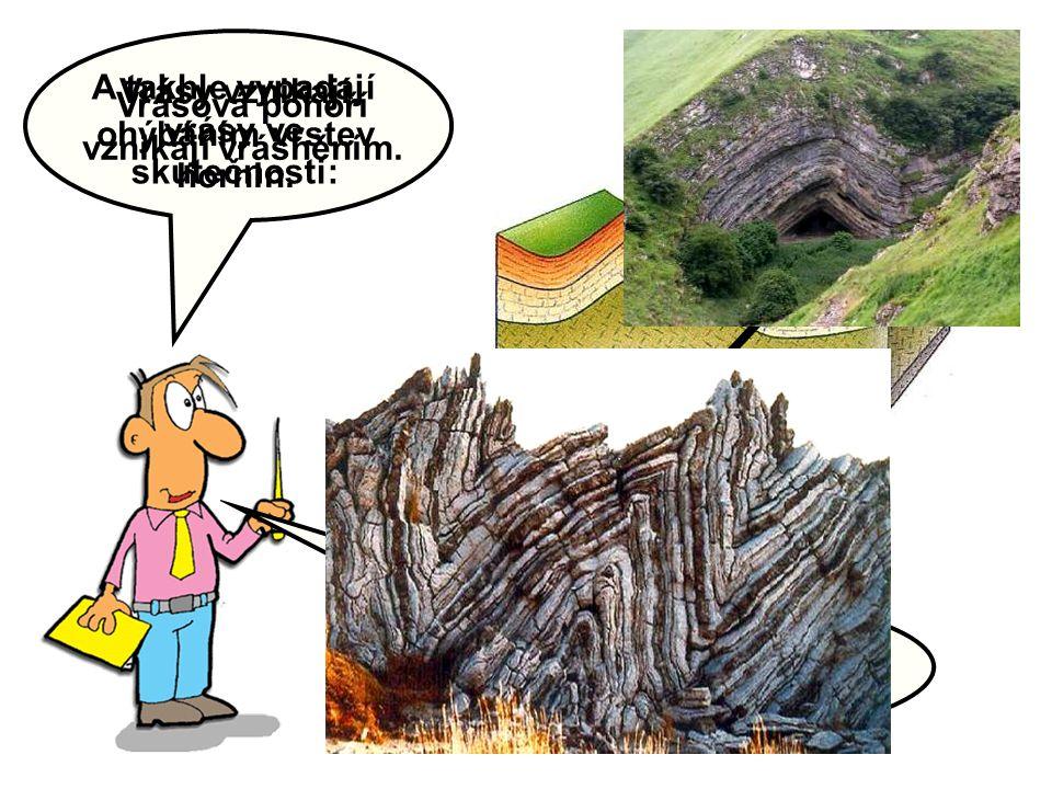 Vrásy vznikají ohýbáním vrstev hornin. Zjistěte, z jakých částí se vrása skládá: KORYTO SEDLO A takhle vypadají vrásy ve skutečnosti: Vrásová pohoří v