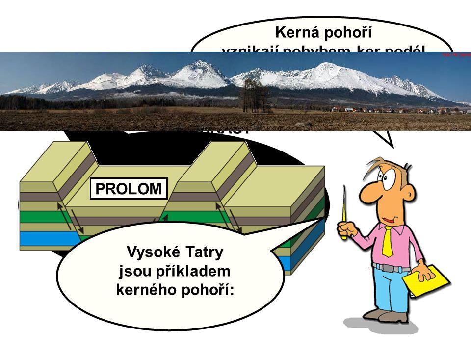 Kerná pohoří vznikají pohybem ker podél zlomů v zemské kůře: PROLOM HRÁSŤ Vysoké Tatry jsou příkladem kerného pohoří:
