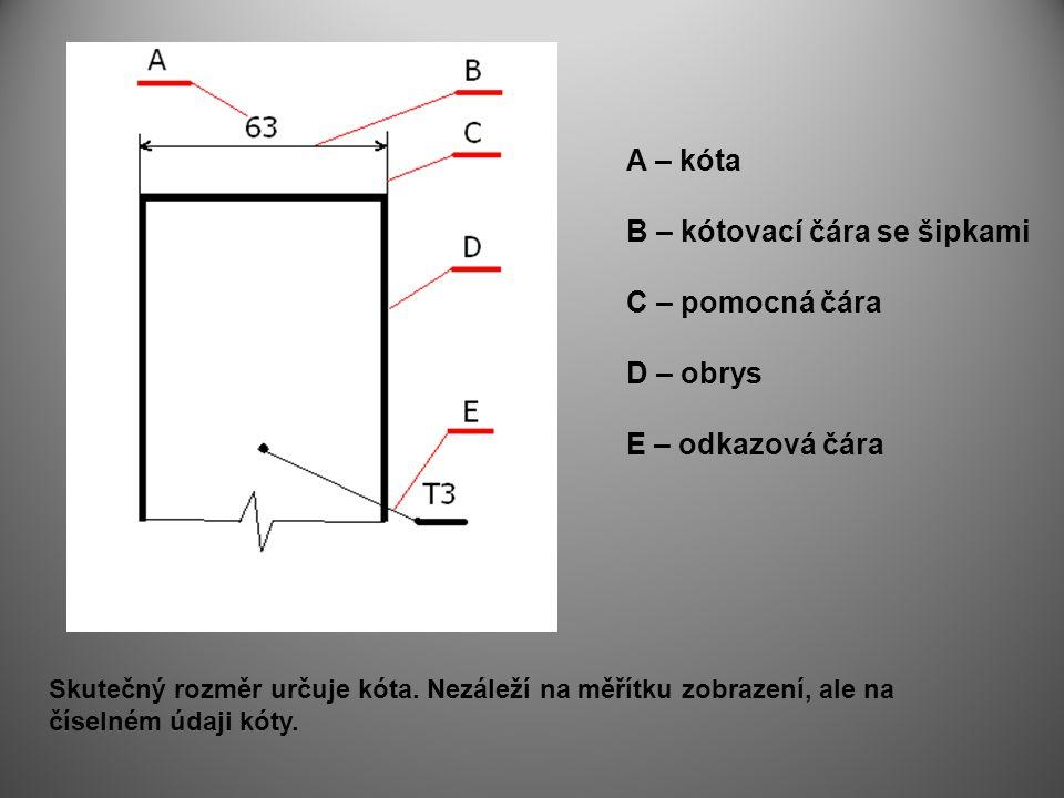 KÓTOVÁNÍ Technické zobrazení nás informuje o tvaru a rozměrech výrobku.