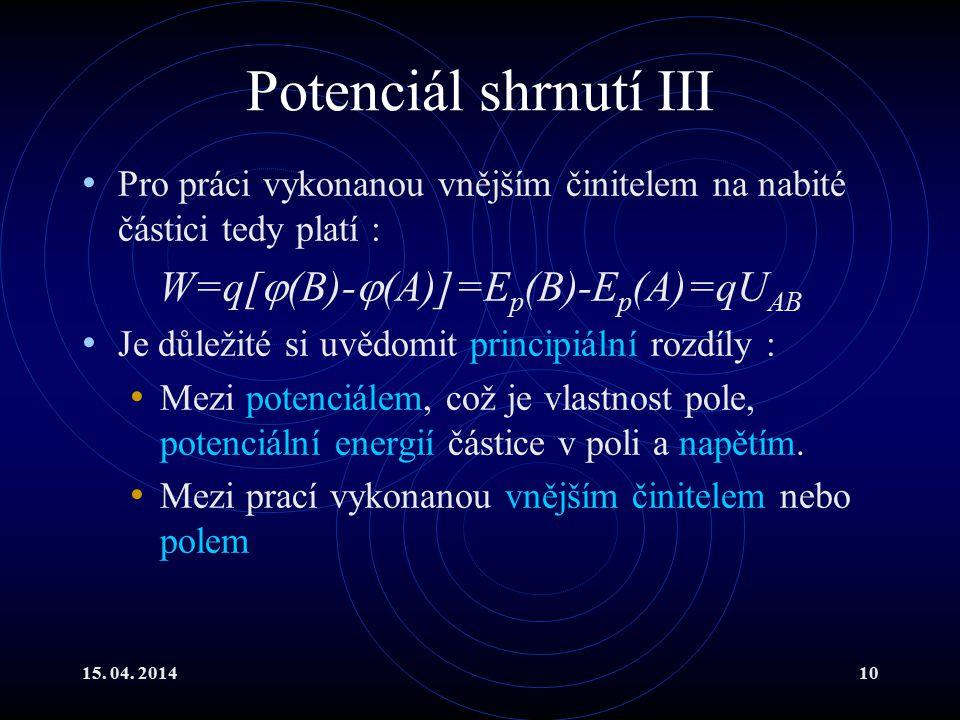 15. 04. 201410 Potenciál shrnutí III Pro práci vykonanou vnějším činitelem na nabité částici tedy platí : W=q[  (B)-  (A)]=E p (B)-E p (A)=qU AB Je