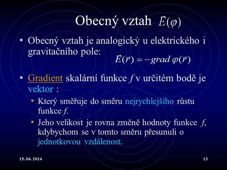 15. 04. 201413 Obecný vztah Obecný vztah je analogický u elektrického i gravitačního pole: Gradient skalární funkce f v určitém bodě je vektor : Gradi