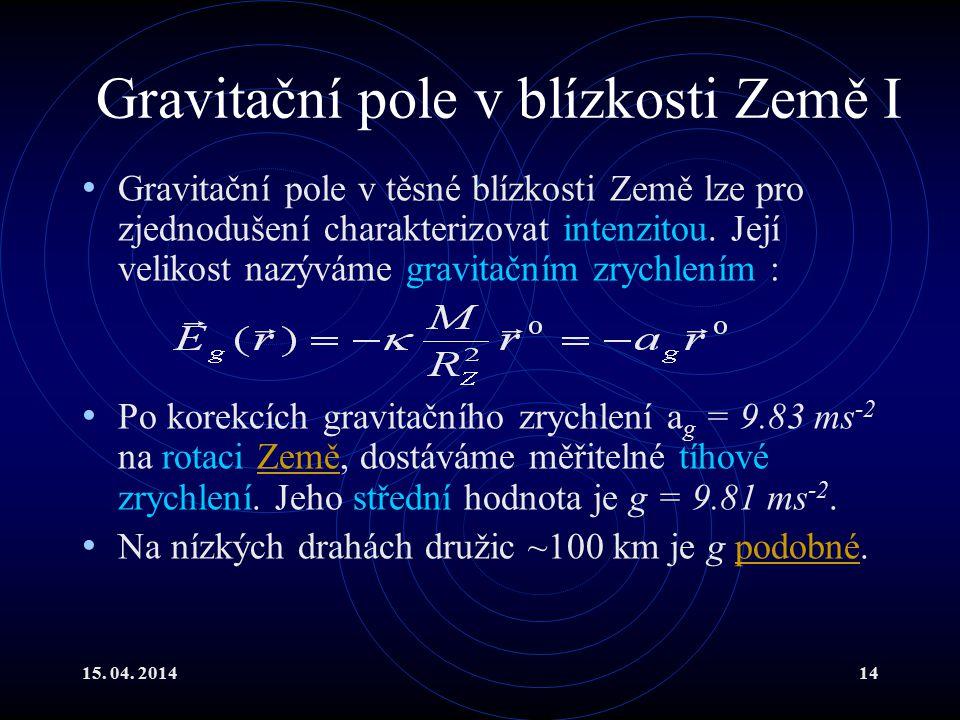 15. 04. 201414 Gravitační pole v blízkosti Země I Gravitační pole v těsné blízkosti Země lze pro zjednodušení charakterizovat intenzitou. Její velikos