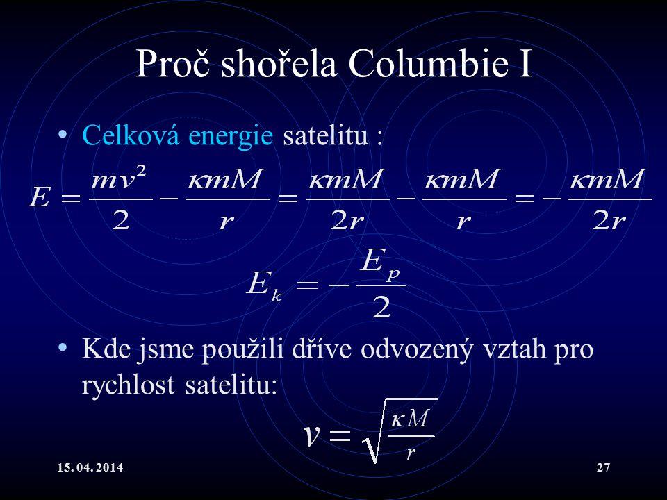 15. 04. 201427 Proč shořela Columbie I Celková energie satelitu : Kde jsme použili dříve odvozený vztah pro rychlost satelitu: