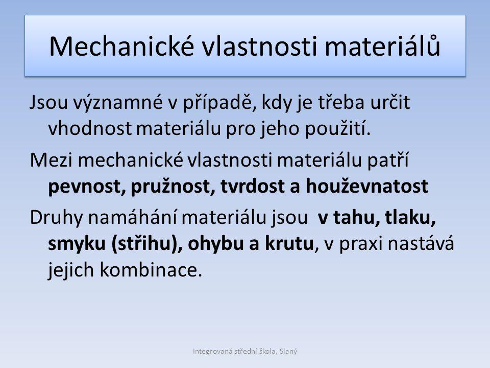 Mechanické vlastnosti materiálů Jsou významné v případě, kdy je třeba určit vhodnost materiálu pro jeho použití. Mezi mechanické vlastnosti materiálu
