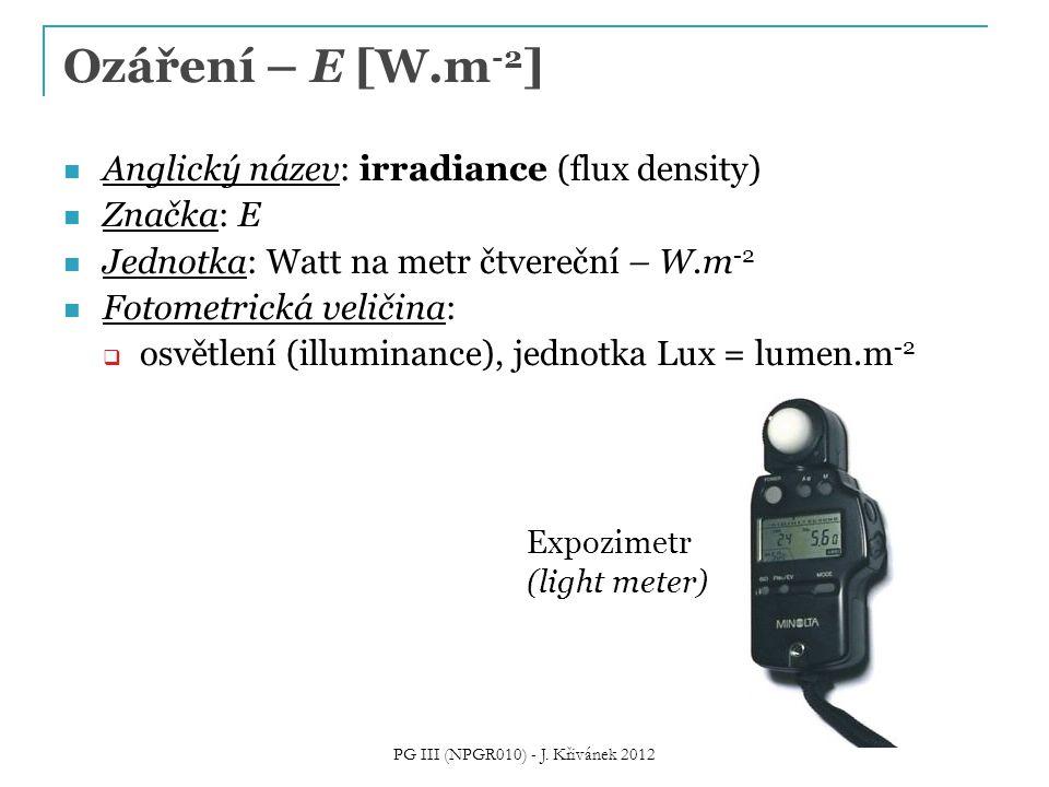 Ozáření – E [W.m -2 ] Anglický název: irradiance (flux density) Značka: E Jednotka: Watt na metr čtvereční – W.m -2 Fotometrická veličina:  osvětlení