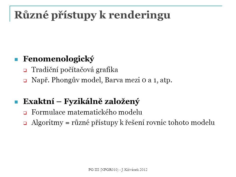 Různé přístupy k renderingu Fenomenologický  Tradiční počítačová grafika  Např. Phongův model, Barva mezi 0 a 1, atp. Exaktní – Fyzikálně založený 