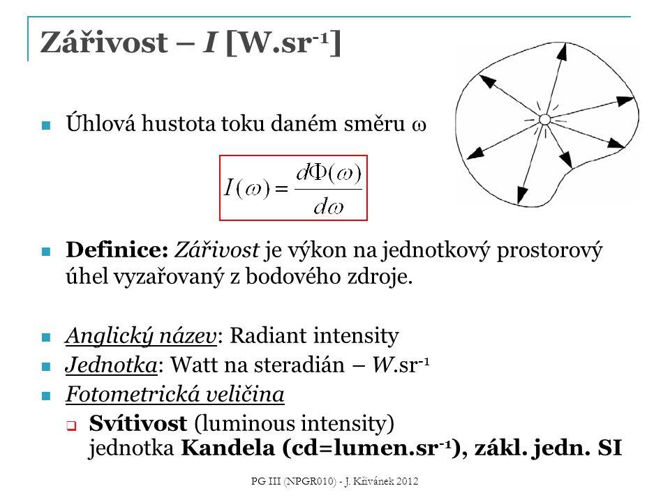 Zářivost – I [W.sr -1 ] Úhlová hustota toku daném směru  Definice: Zářivost je výkon na jednotkový prostorový úhel vyzařovaný z bodového zdroje. Angl