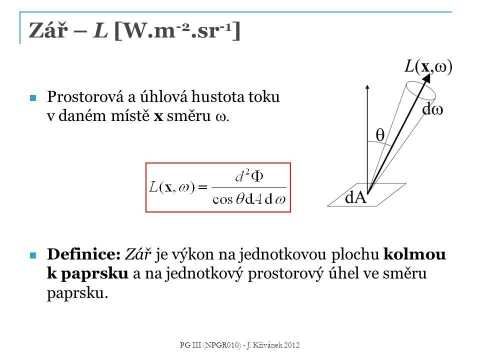 Prostorová a úhlová hustota toku v daném místě x směru  Definice: Zář je výkon na jednotkovou plochu kolmou k paprsku a na jednotkový prostorový úhe
