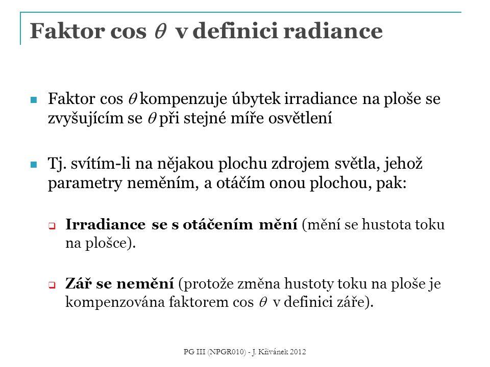 Faktor cos  v definici radiance Faktor cos  kompenzuje úbytek irradiance na ploše se zvyšujícím se  při stejné míře osvětlení Tj. svítím-li na