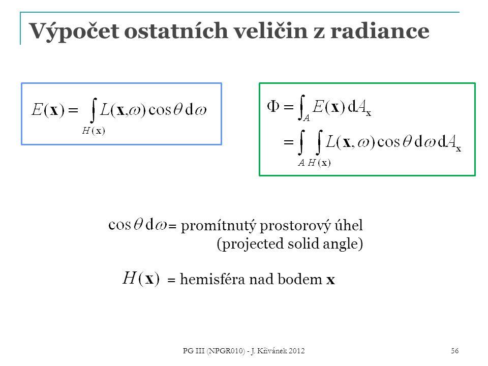 56 Výpočet ostatních veličin z radiance = promítnutý prostorový úhel (projected solid angle) = hemisféra nad bodem x PG III (NPGR010) - J. Křivánek 20