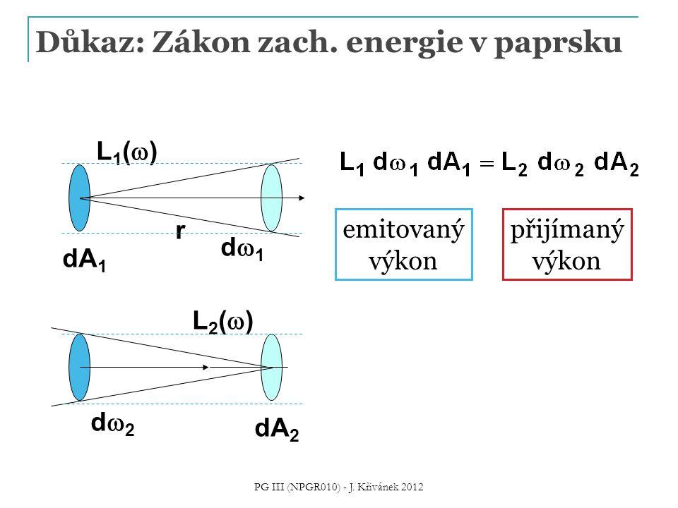 Důkaz: Zákon zach. energie v paprsku d2d2 dA 2 L2()L2() d1d1 dA 1 L1()L1() r emitovaný výkon přijímaný výkon PG III (NPGR010) - J. Křivánek 20