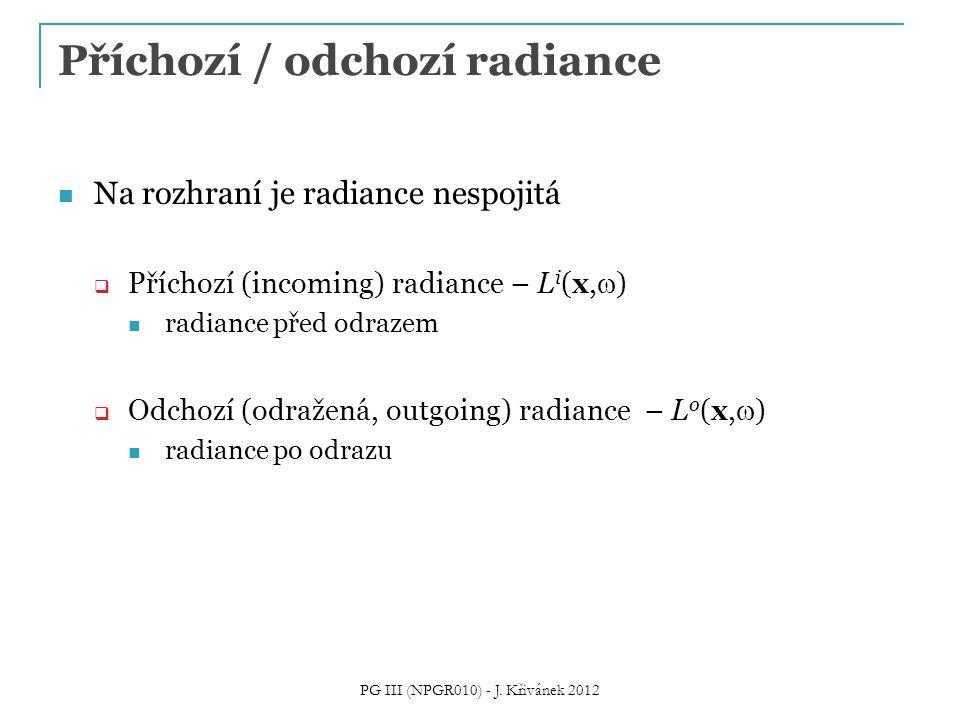 Příchozí / odchozí radiance Na rozhraní je radiance nespojitá  Příchozí (incoming) radiance – L i (x,  ) radiance před odrazem  Odchozí (odražená,