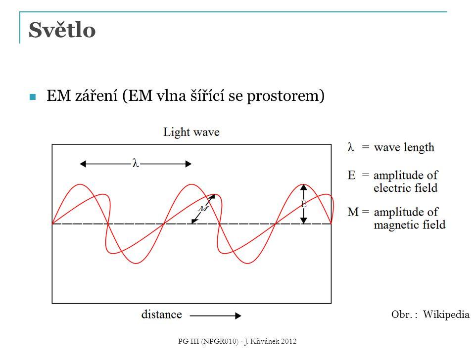 Světlo EM záření (EM vlna šířící se prostorem) Obr. : Wikipedia PG III (NPGR010) - J. Křivánek 2012