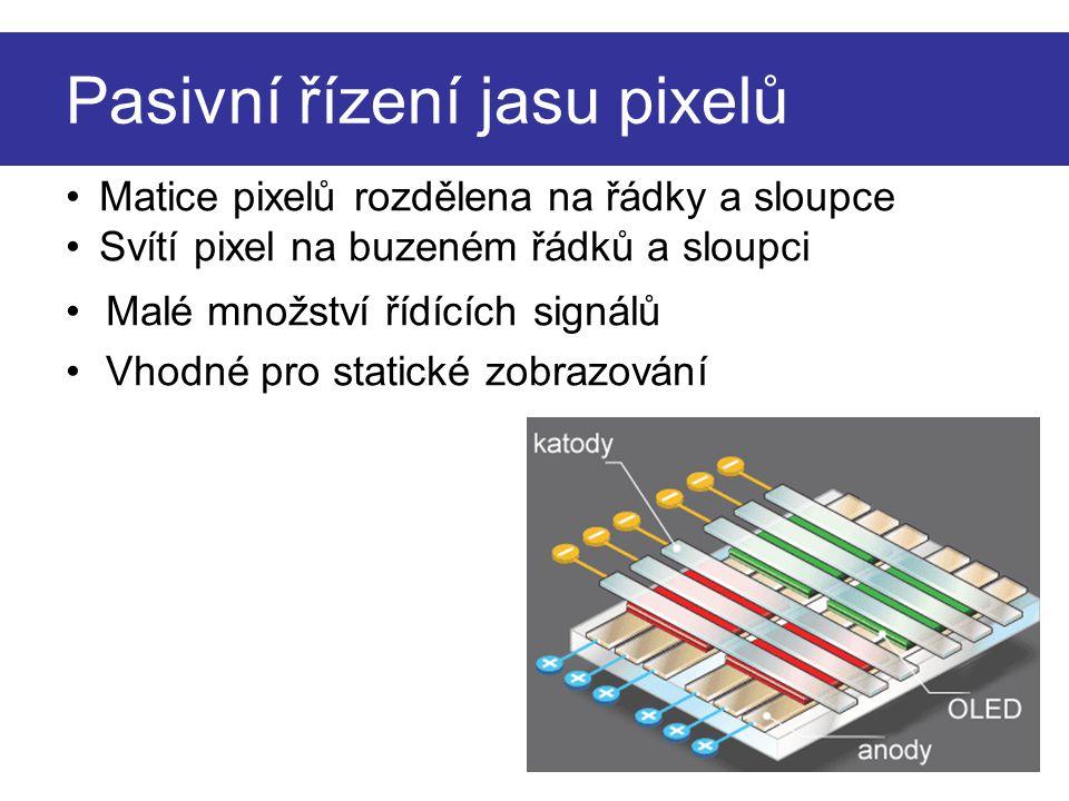 Pasivní řízení jasu pixelů Malé množství řídících signálů Vhodné pro statické zobrazování Matice pixelů rozdělena na řádky a sloupce Svítí pixel na bu